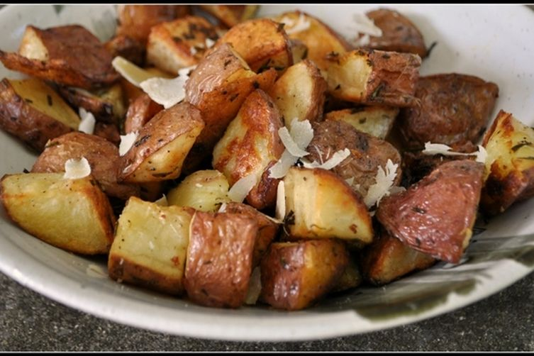 Roasted potatoes with rosemary trufle oil and parm