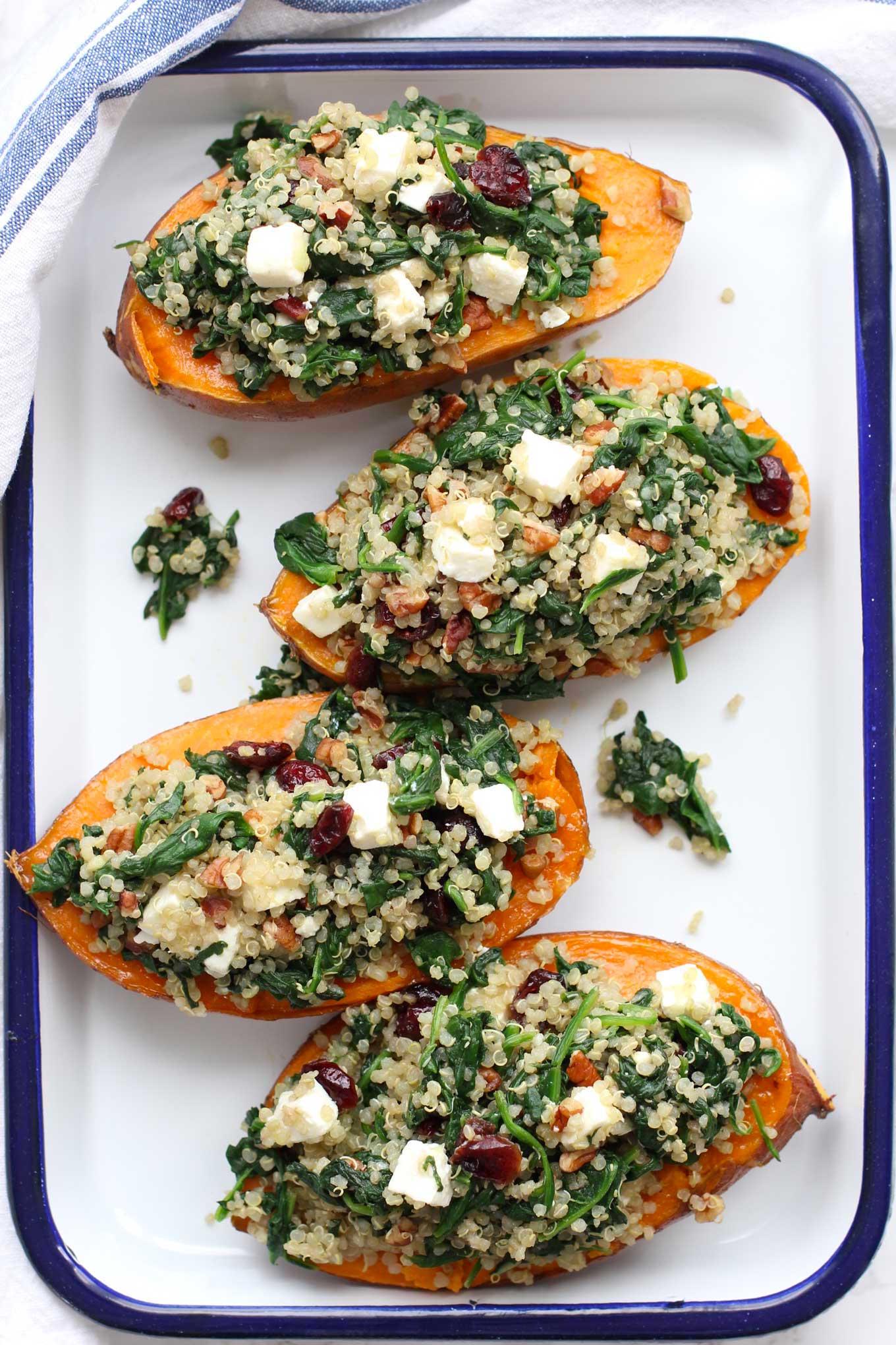 Roasted sweet potato stuffed with quinoa and spinach 1