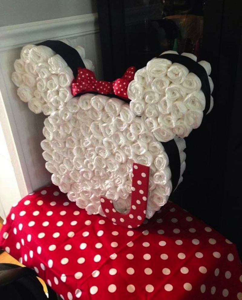 Rolled diaper minnie mouse