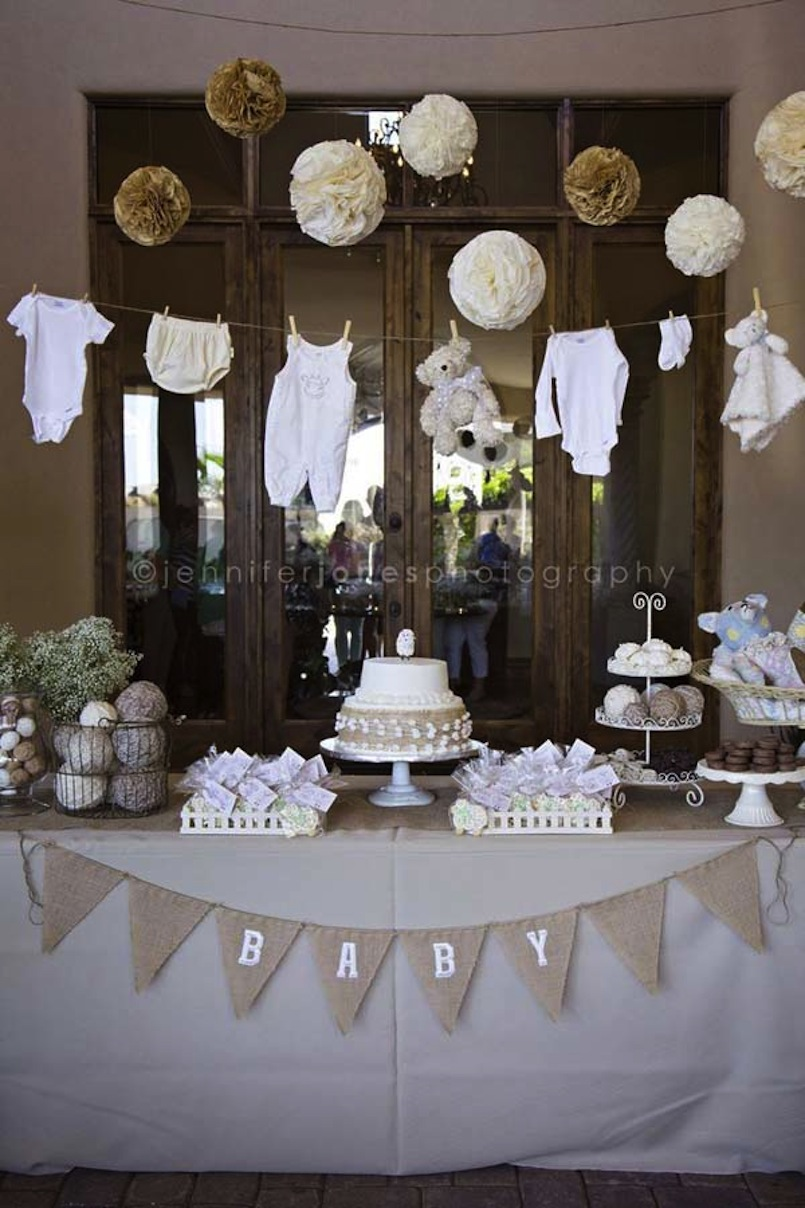 Rustic and burlap baby tablescape