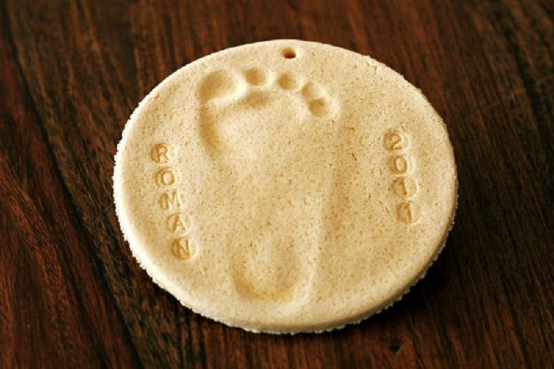 Salt dough footprints
