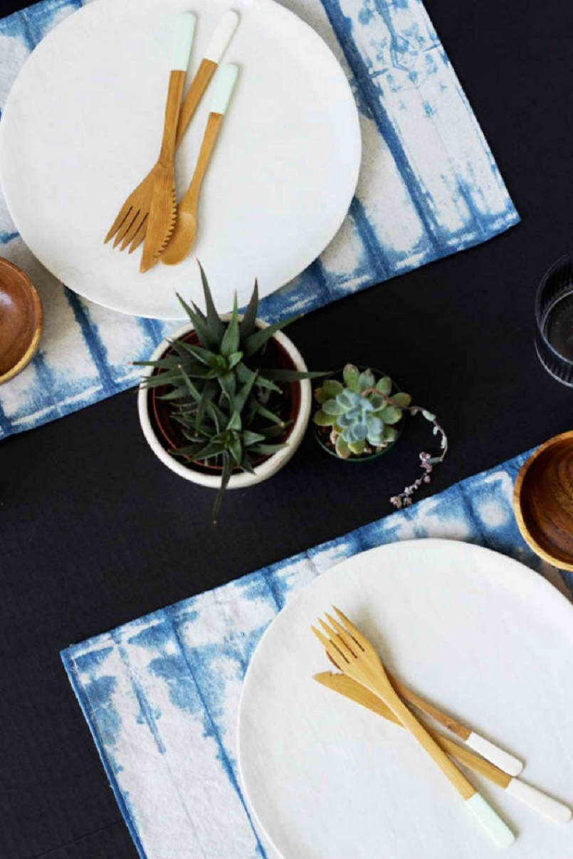 Shibori dyed placemats