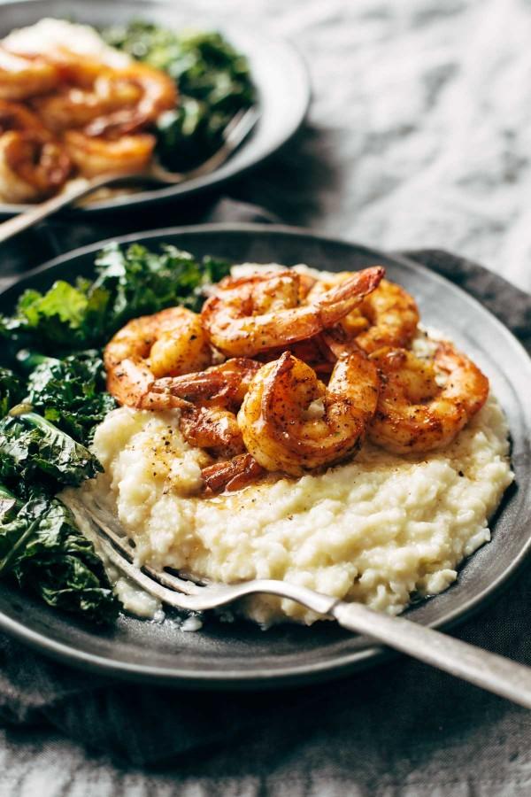 Shrimp and cauliflower mash
