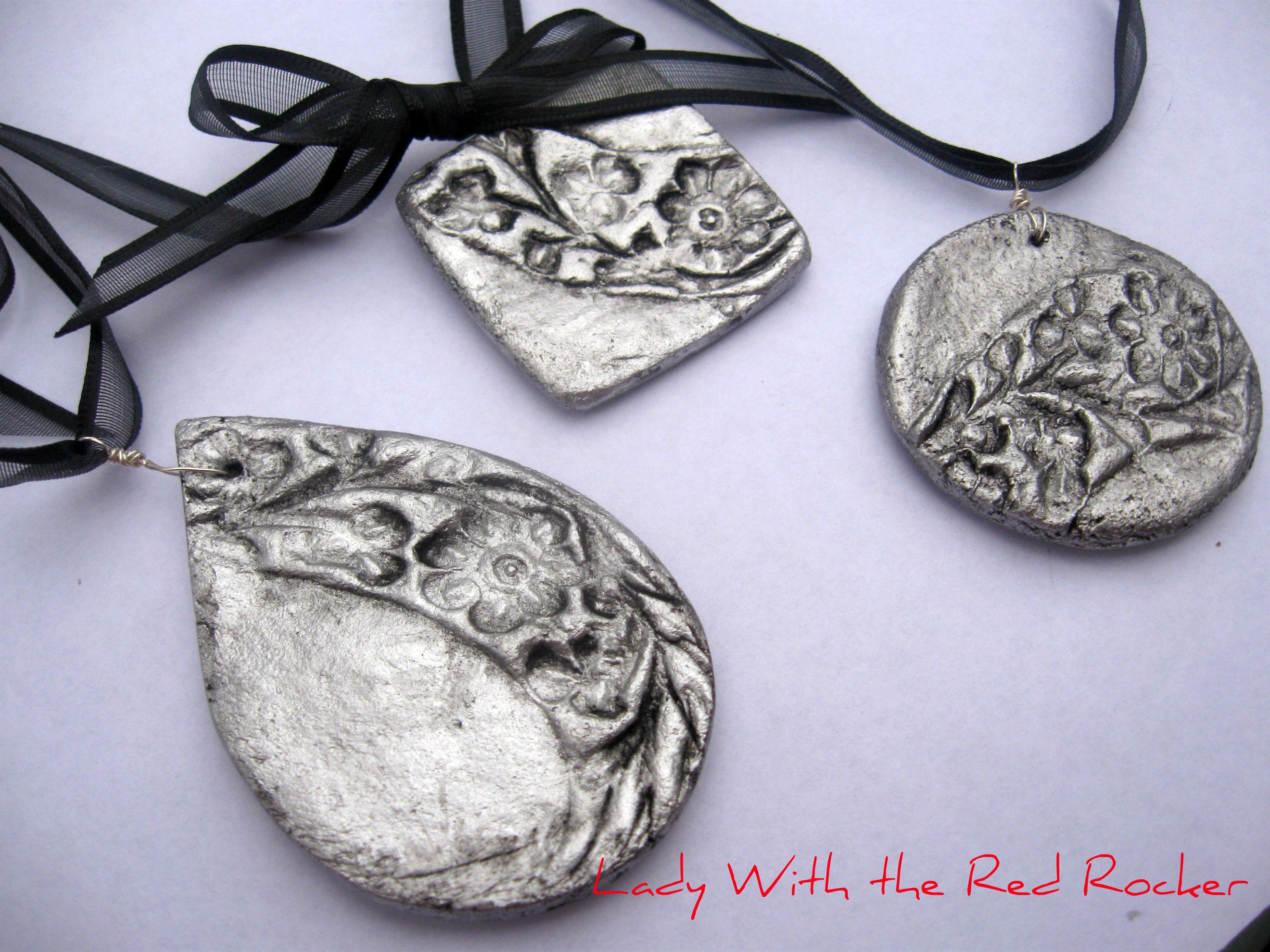 Silver salt dough pendant