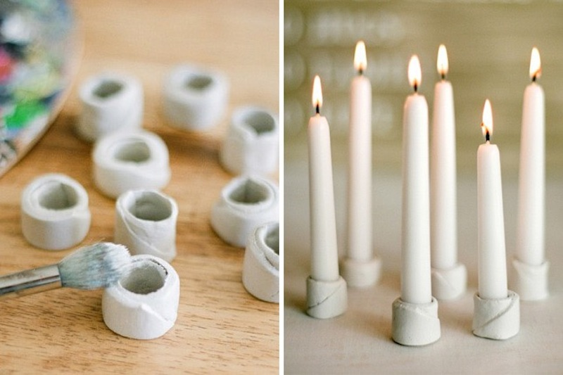 Small clay candle holders