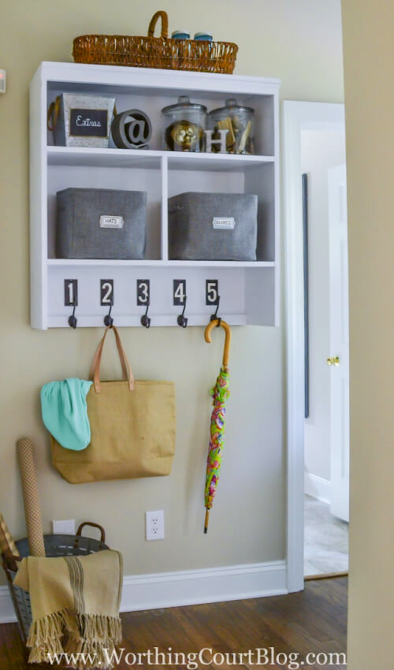 Space saving shelf and hooks