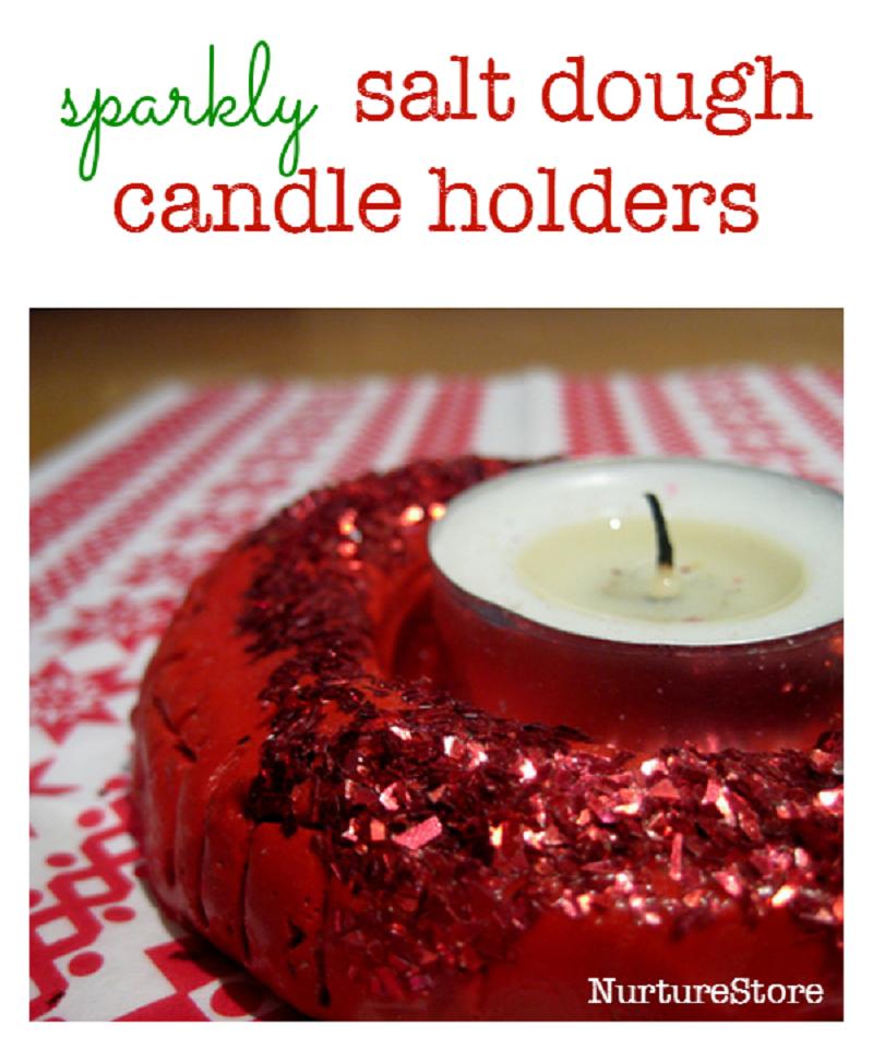 Sparkly salt dough candleholders