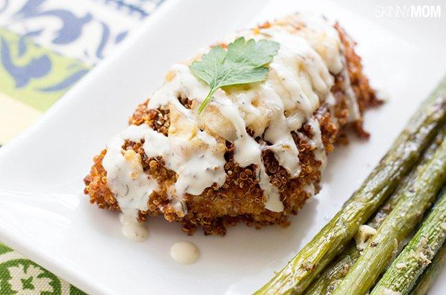 Spicy quinoa crusted chicken
