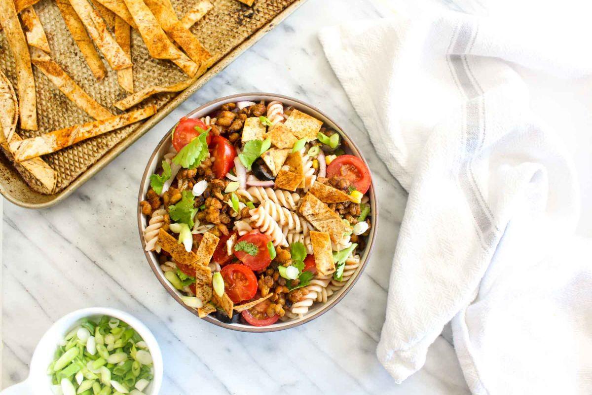 Spring healthy taco pasta salad