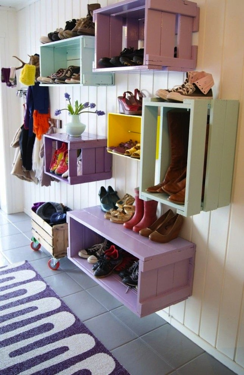 Stacked crates mudroom storage