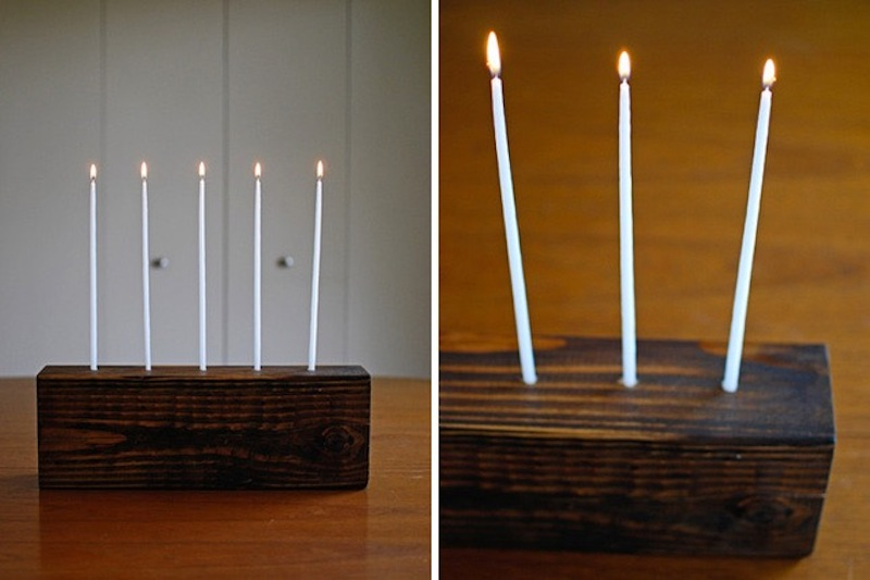 Stained wood block candle holder