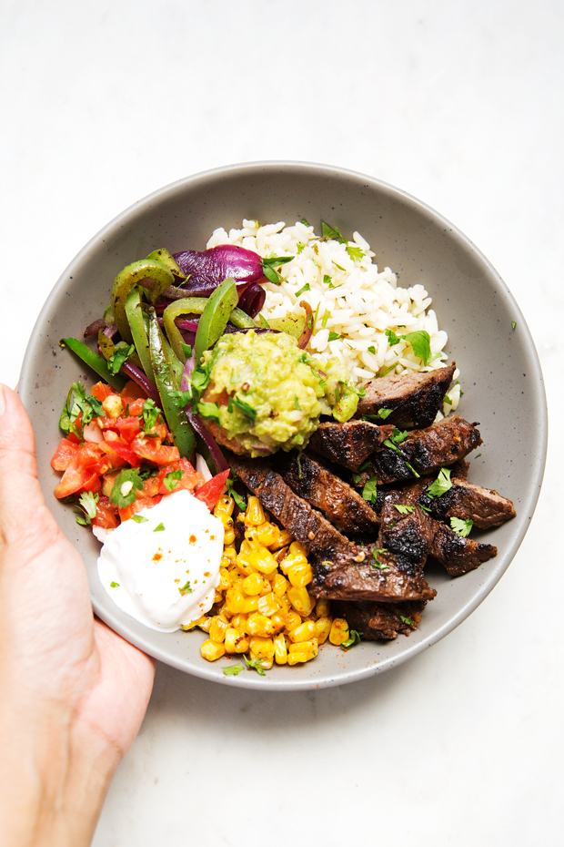 Steak fajita bowls with garlic lime rice