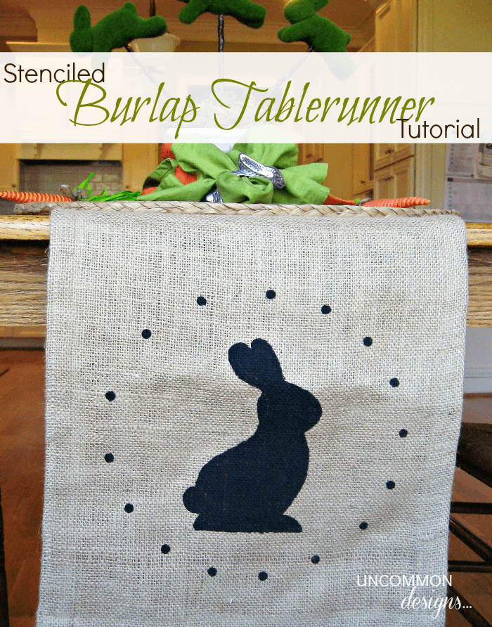 Stenciled burlap tablerunner tutorial graphic