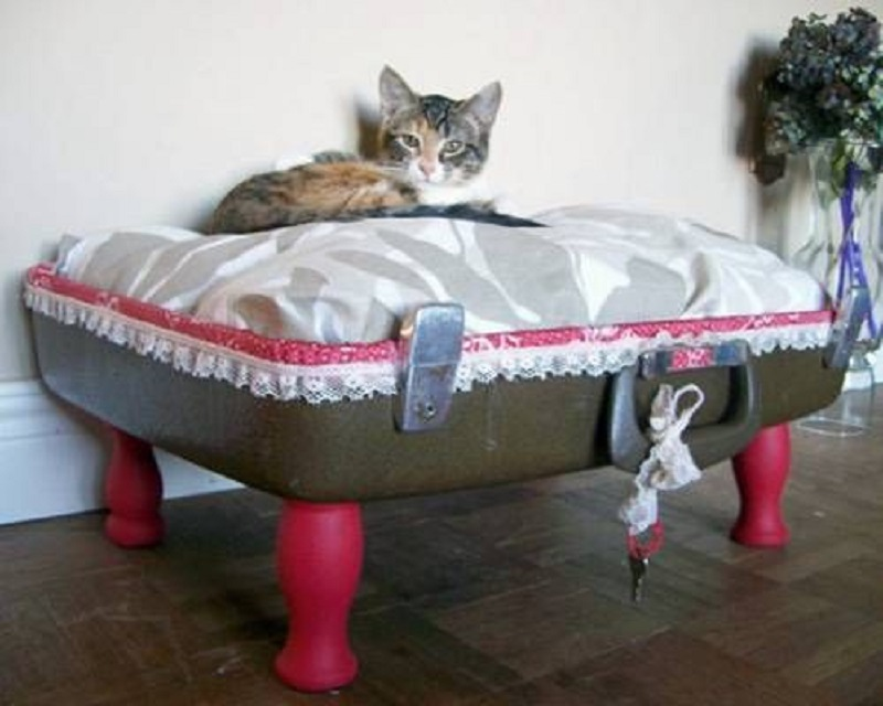 Suitcase bed with legs