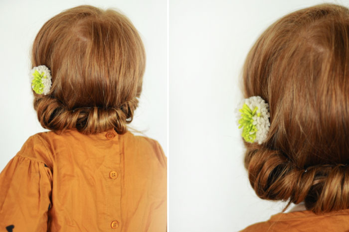 Sweet roll toddler hairstyle