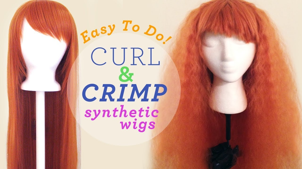Synthetic wig crimping