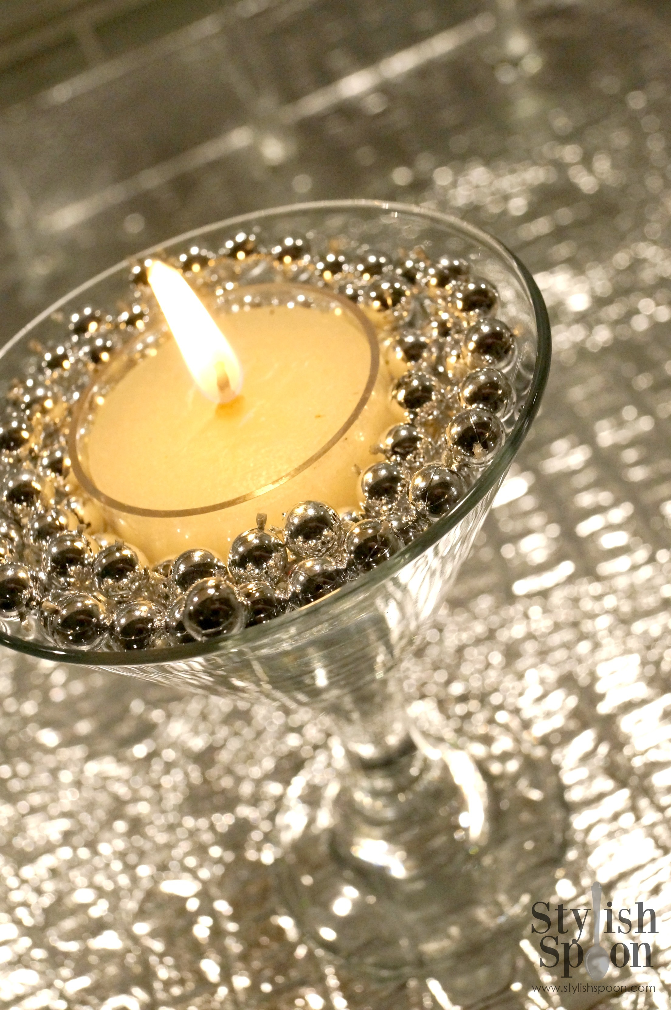 Tea light and marble martini glass