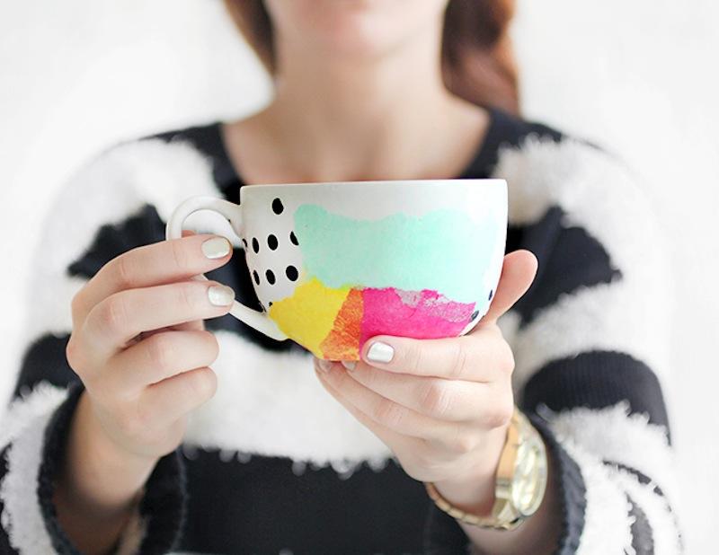 Tissue paper decoupage mug