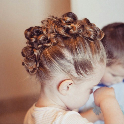 Toddler knotted mohawk hairstyle