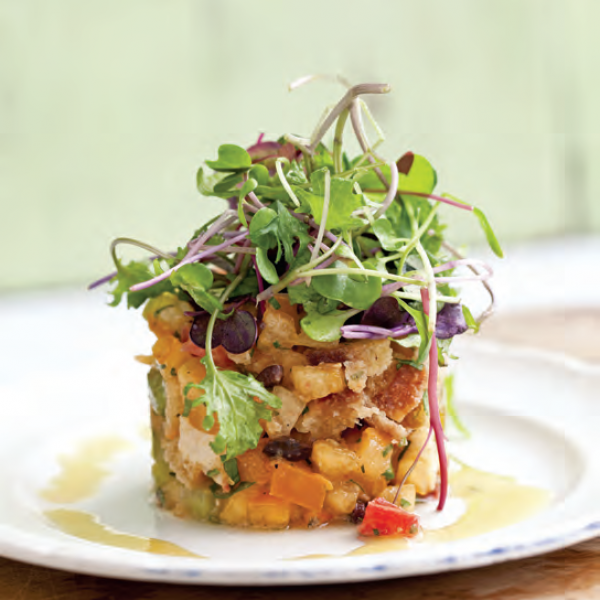 Tomato tartare and micro greens with shallot vinaigrette