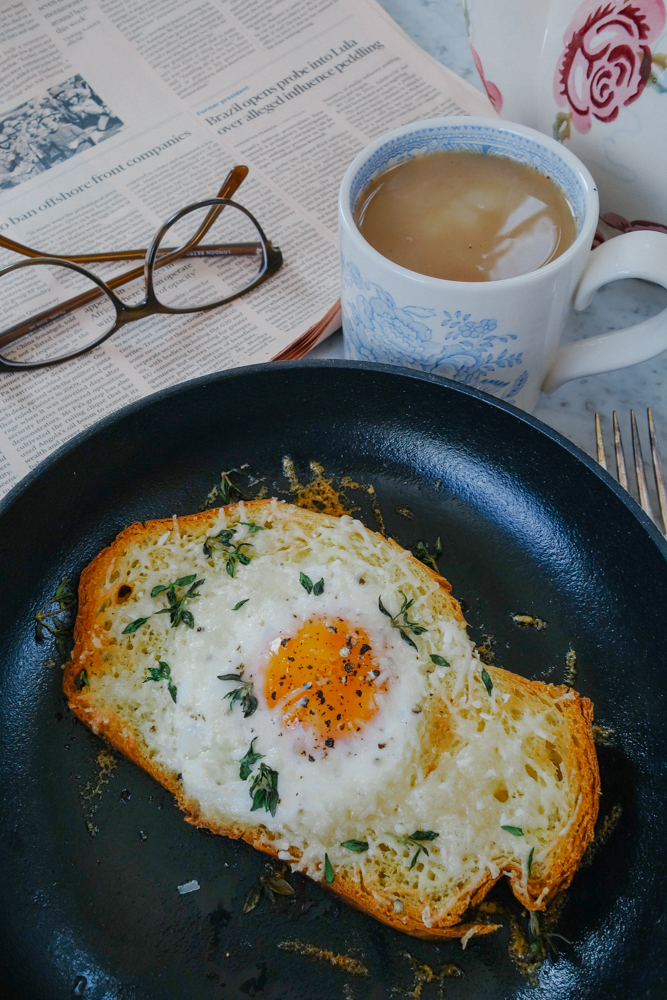Truffle parmasan egg in a hole