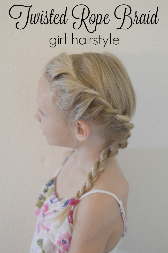 Twisted rope braid girl hairstyle