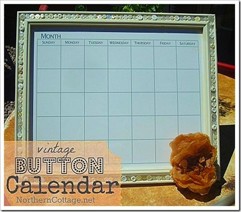 Vintage button calendar