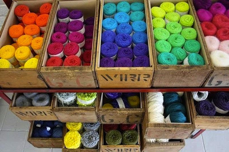 Vintage yarn crates