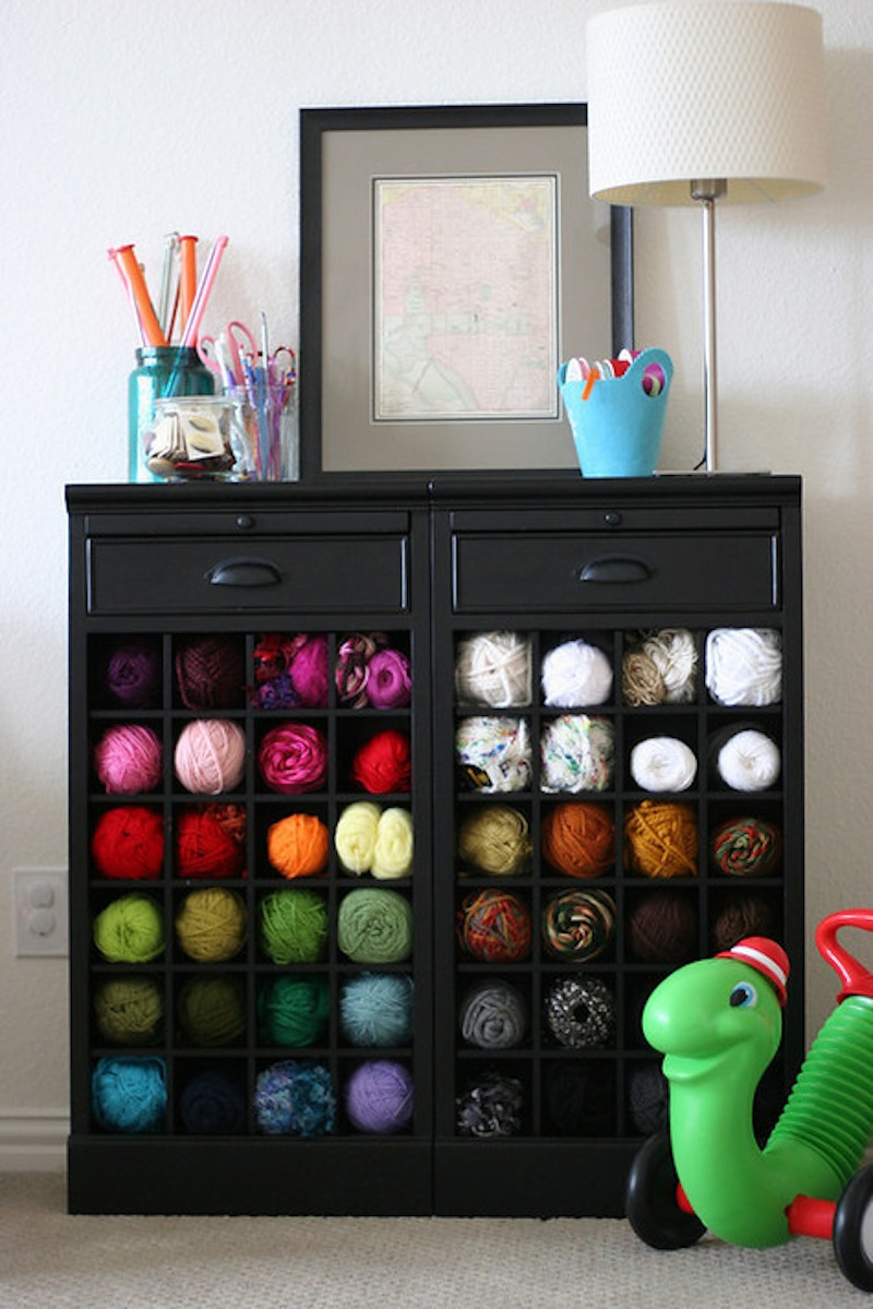 Wine cabinet yarn cubbies