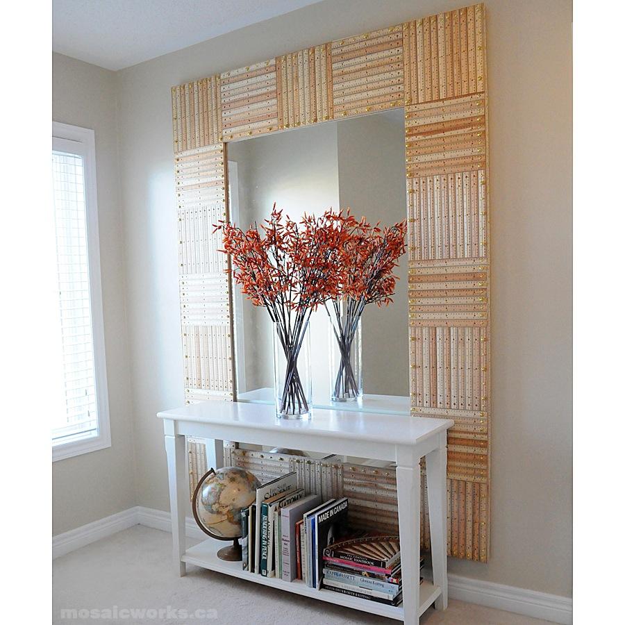 Wooden ruler mirror