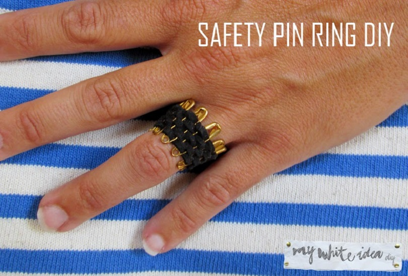 Woven safety pin ring