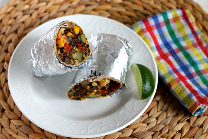 Black bean and quinoa freezer burritos