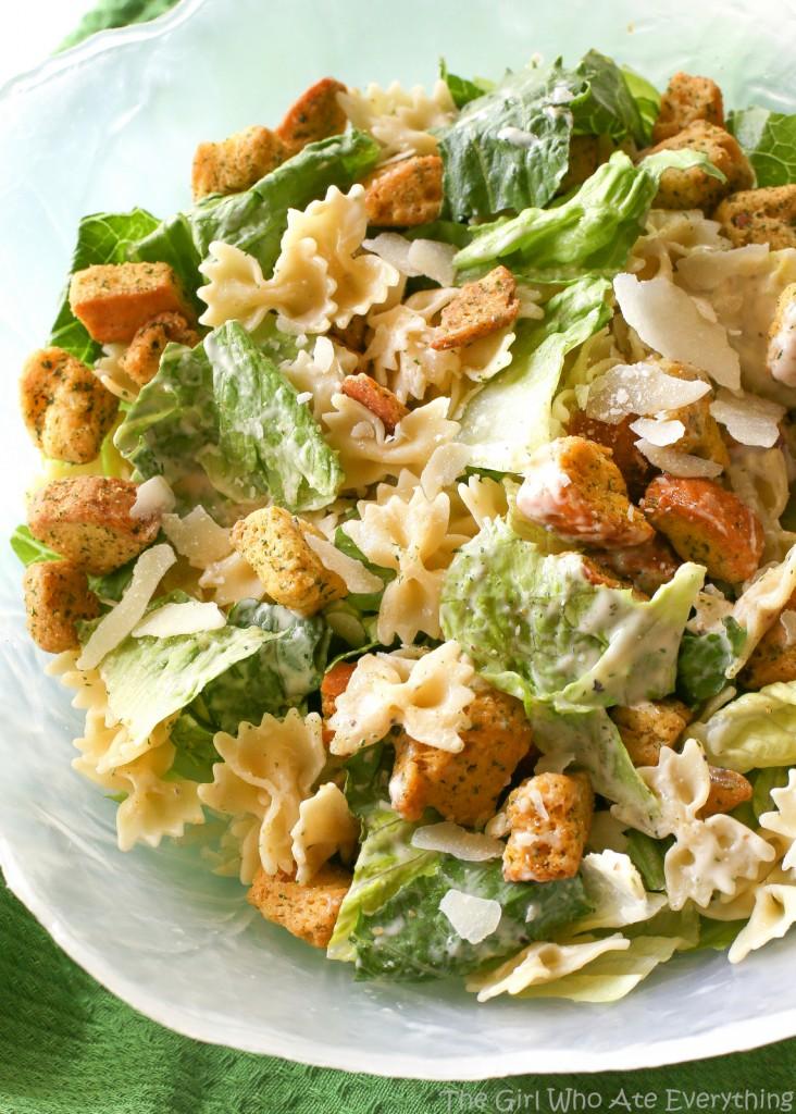 Bowtie caesar salad