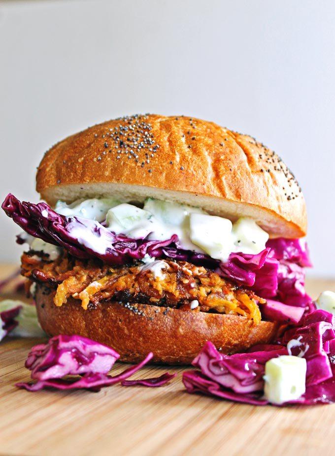Carrot tahini quinoa burgers with tzatziki 6801
