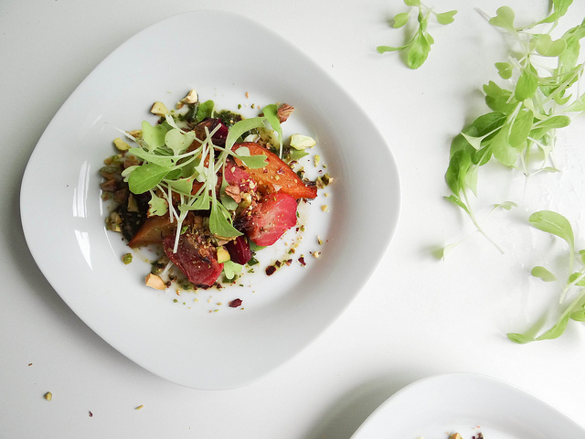 Charred rainbow beet and pistachio salad