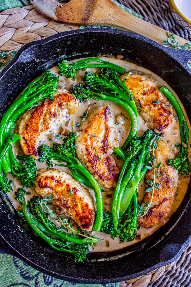 Chicken and broccolini in mustard sauce