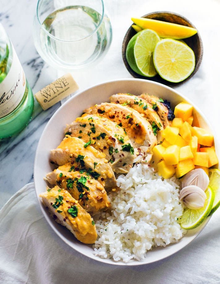 Chili lime mango marinated chicken bowls with pinot grigio 4 of 1 7
