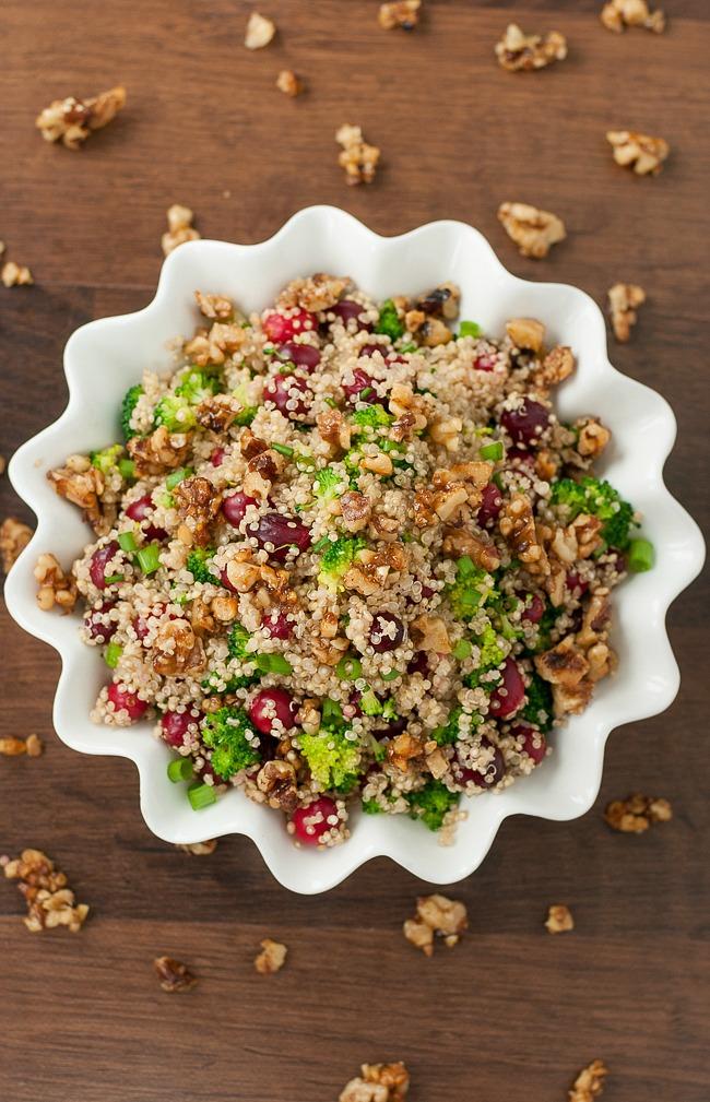 Cranberry quinoa salad candied walnuts homemade dressing recipe