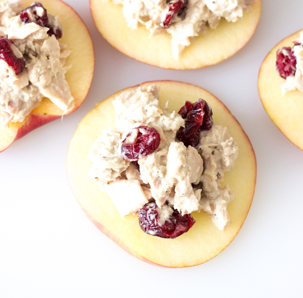 Cranberry tuna salad on apple slices