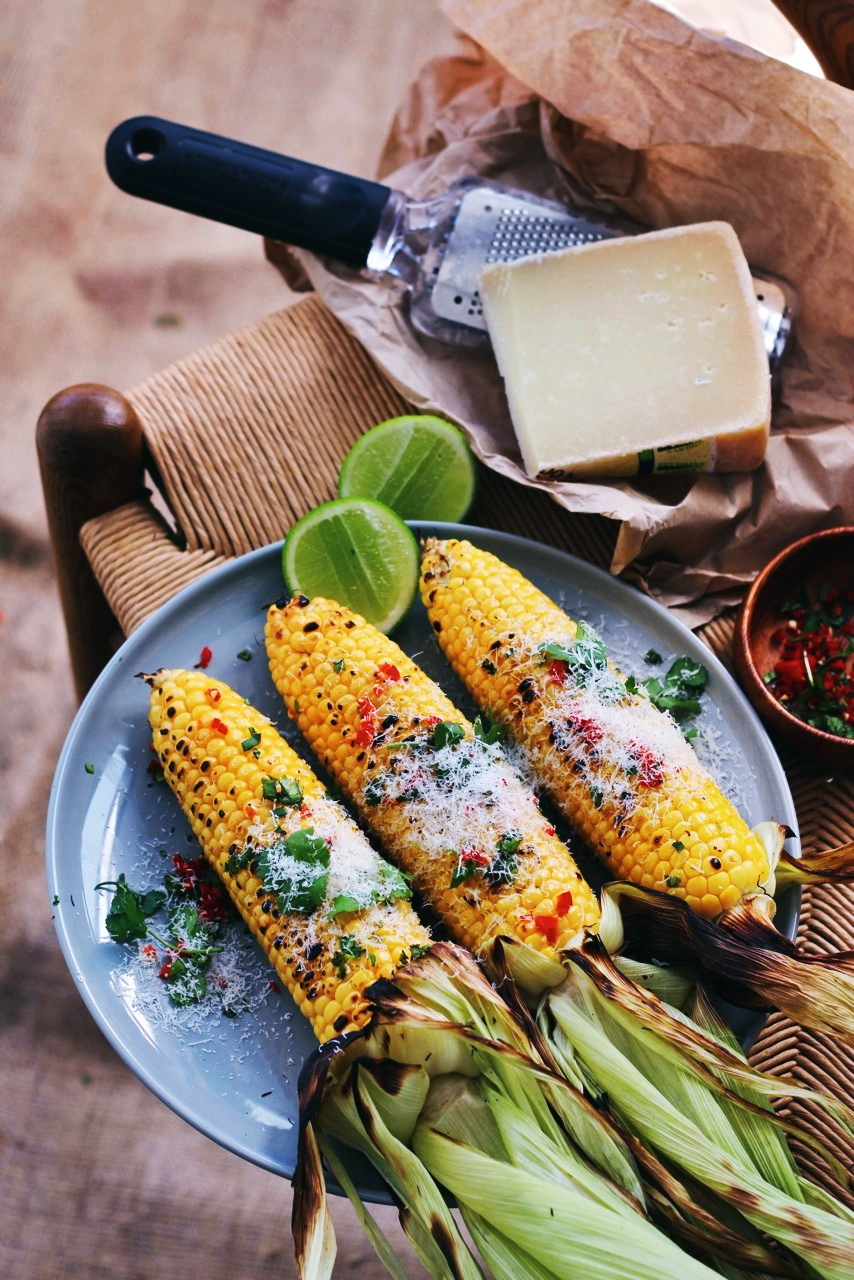 Grilled corn with truffle oil