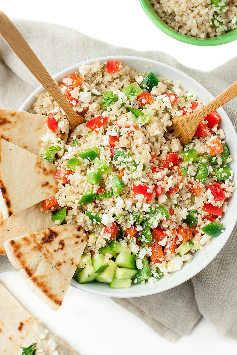 Healthy vegetarian mediterranian greek quinoa salad recipe 4384xsx