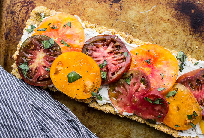 Heirloom tomato and ricotta tart