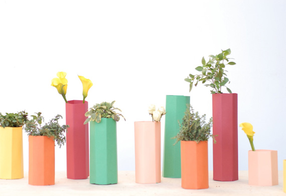 Homemade paper vases diy