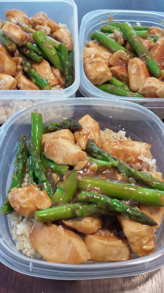 Lemon chicken and asparagus quinoa bowl