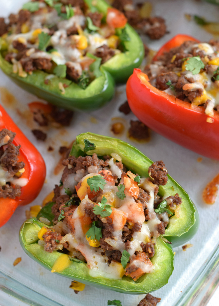 Mexican chipotle beef stuffed peppers