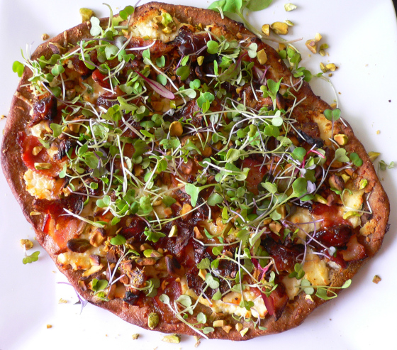 Parm and ricotta pizza with microgreens