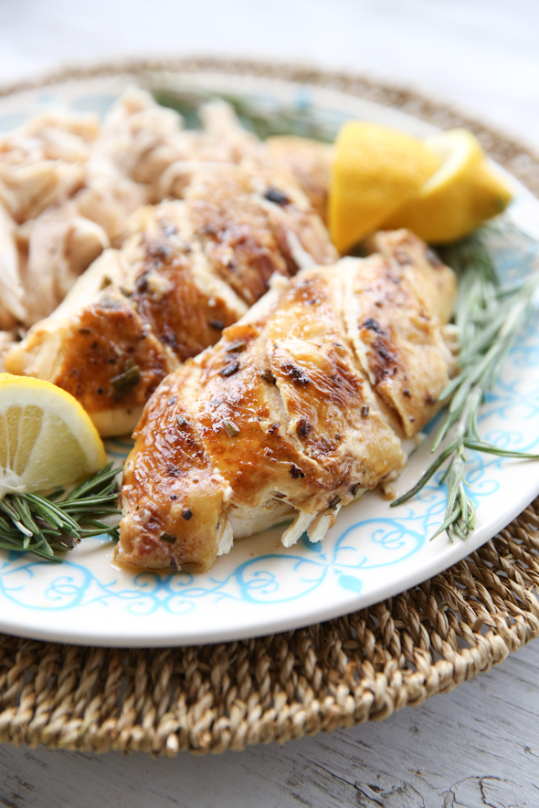 Pressure cooker roasted chicken with lemon and rosemary