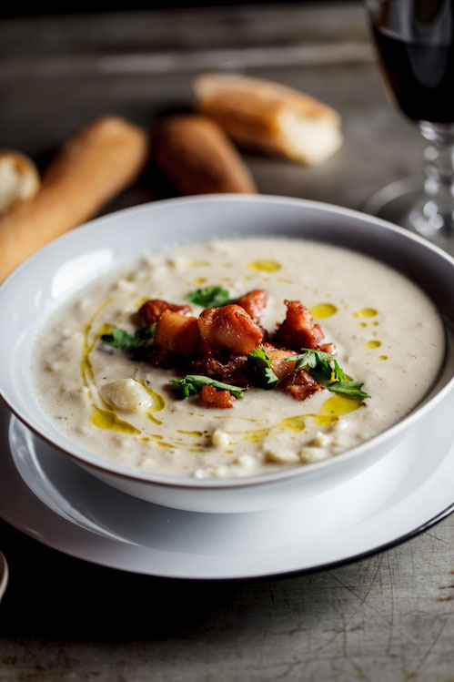 Roasted cauliflower and truffle soup