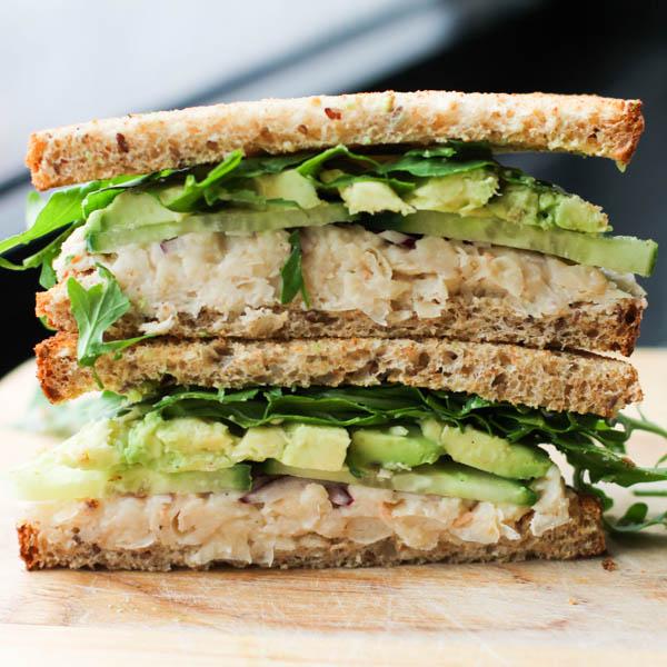 Smashed white beach and avocado sandwich