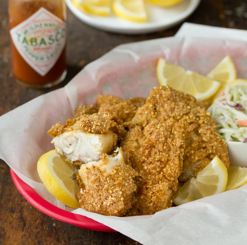 Southern fried catfish with cornmeal